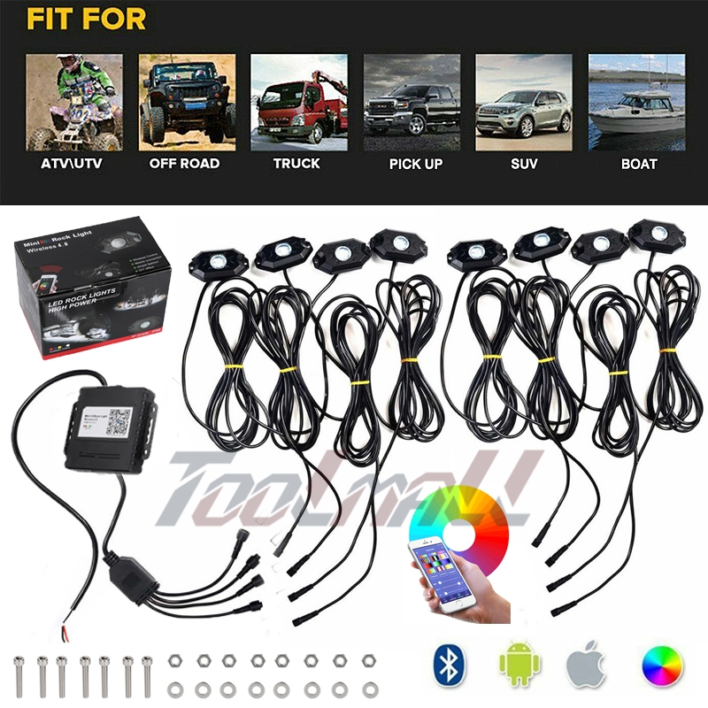 Auxbeam 4 Pods RGB LED Rock Lights with Bluetooth Controller Underglow Rock Lights Kit for Car Jeep Off Road Truck ATV SUV Boat Multicolor Neon LED Rock Lights