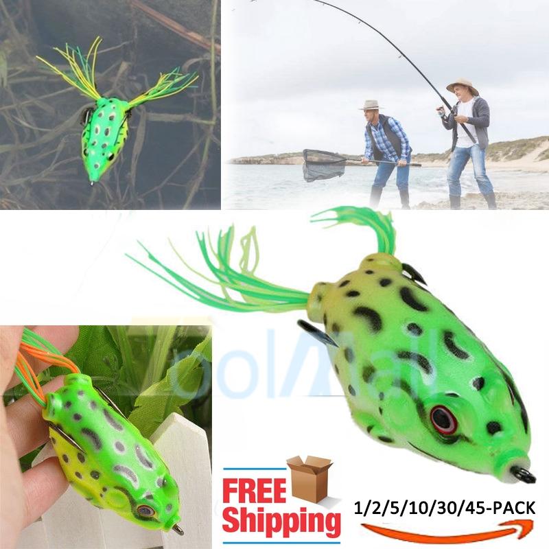Luminous Large Frog Topwater Fishing Lure Crankbait Hooks Bass Bait Tackle 2019