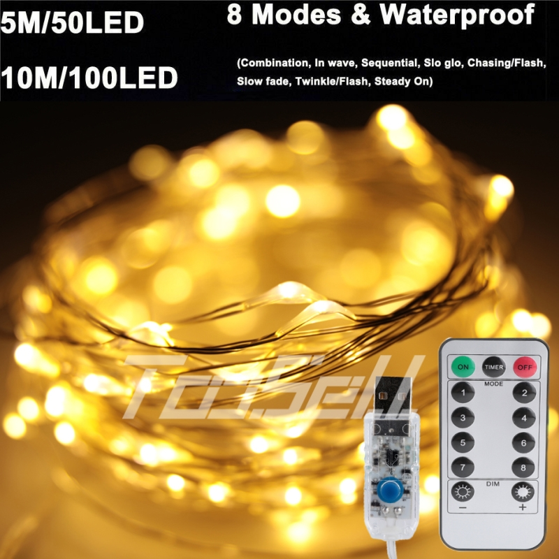 5-20M RGB LED Copper Wire Fairy String Lights Christmas Xmas USB Remote Control