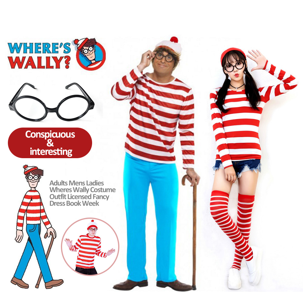 a9bdbfa7cd7 Where s Waldo Wally TV Cartoon Stag Party Mens Teacher Book Week Fancy  Costume