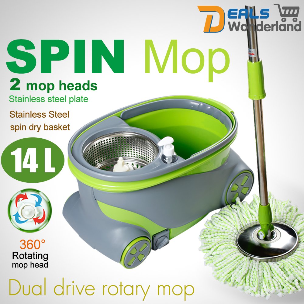360 rotation spinning mop u0026 stainless steel spin dry bucket 2 mop heads