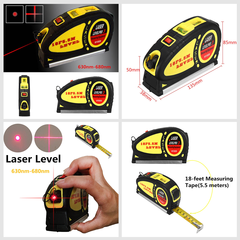 5 5m Spirit Laser Level Measure Tape Horizontal Vertical