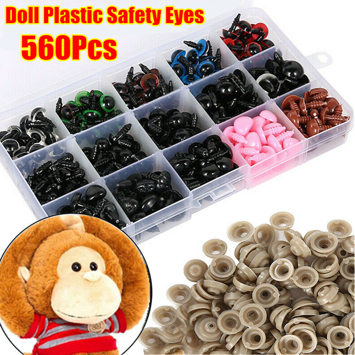 90pcs Plastic Safety Eyes Noses For DIY Teddy Bear TOY Doll Animal Crafts Puppet