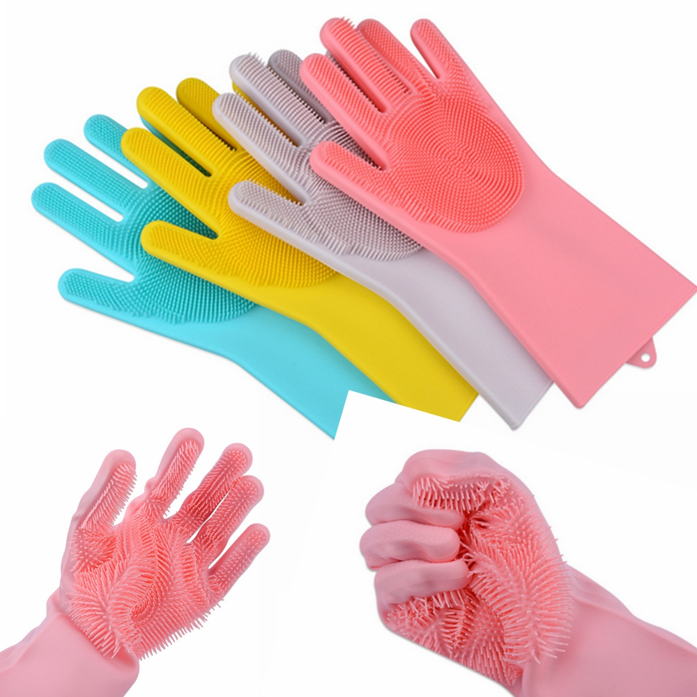 1 Pair Magic Silicone Rubber Dish Wash Gloves Cleaning