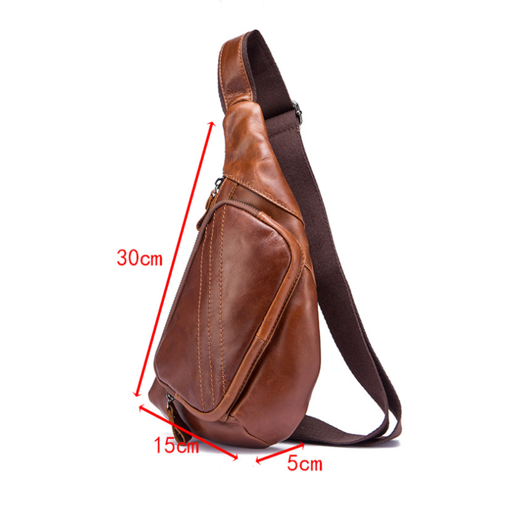 Men Real Leather 9/'/' Sling Shoulder Backpack Chest Day Pack Crossbody Travel Bag
