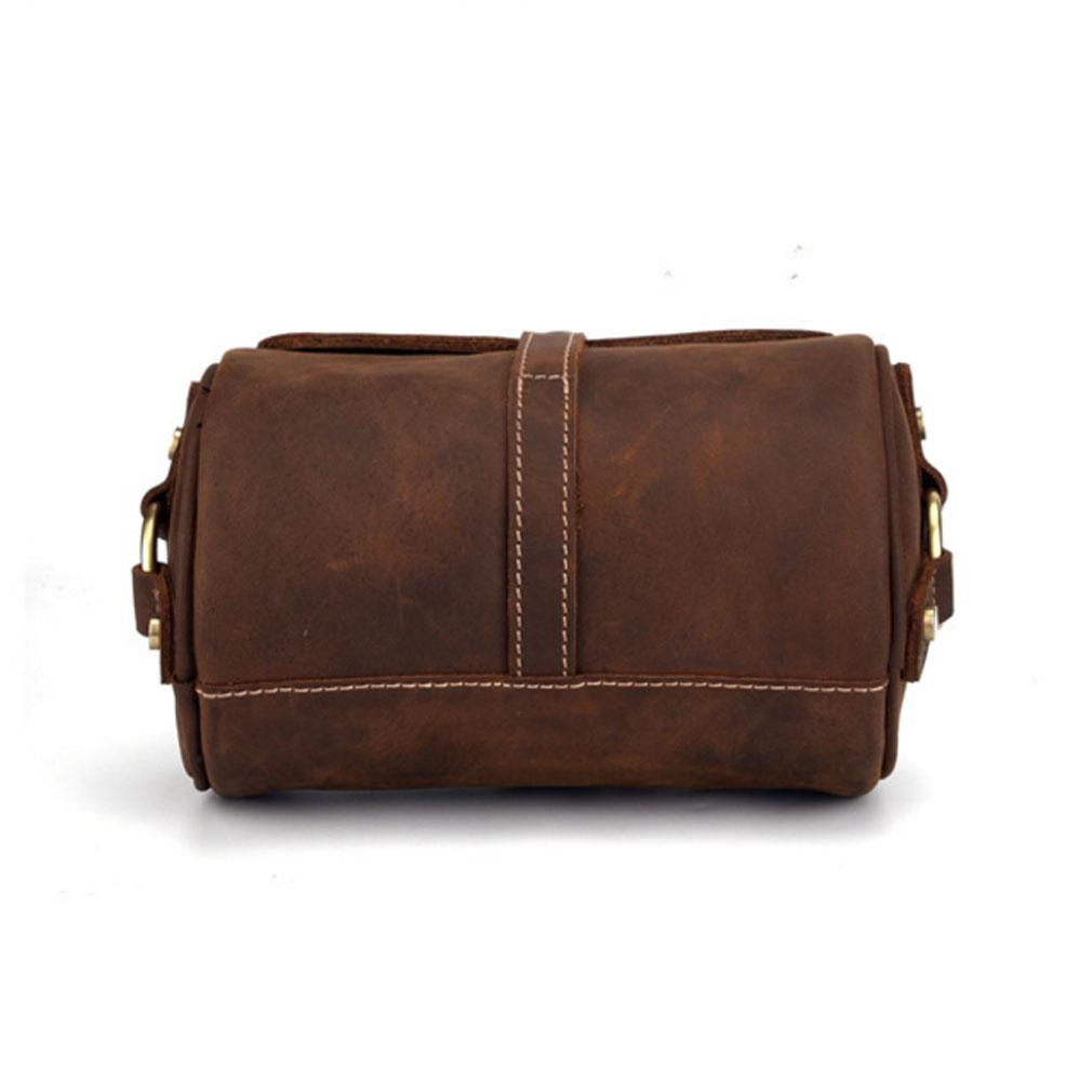 09071fd56a85 Details about Men Women Crazy Horse Leather Cylindrical Vintage Shoulder  Crossbody Sling Bag