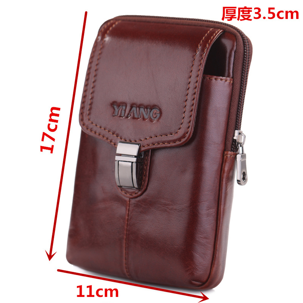 1e9f4a9aacd5 Details about Men Genuine Leather Belt Pouch Cell/Mobile Phone Case Waist  Bag Fanny Pack Purse