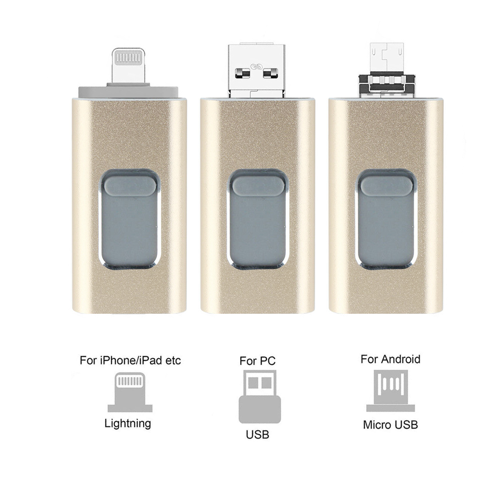 Flash Drives USB Memory Stick U Disks 3 in 1 LOT For Android//IOS iPhone PC 512GB