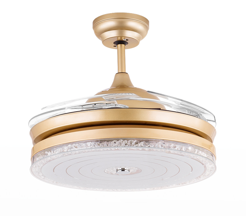Modern luxury crystal round ceiling fan with abs blades 3642 inch modern luxury crystal round ceiling fan with abs blades 3642 inch in whitegold aloadofball Image collections
