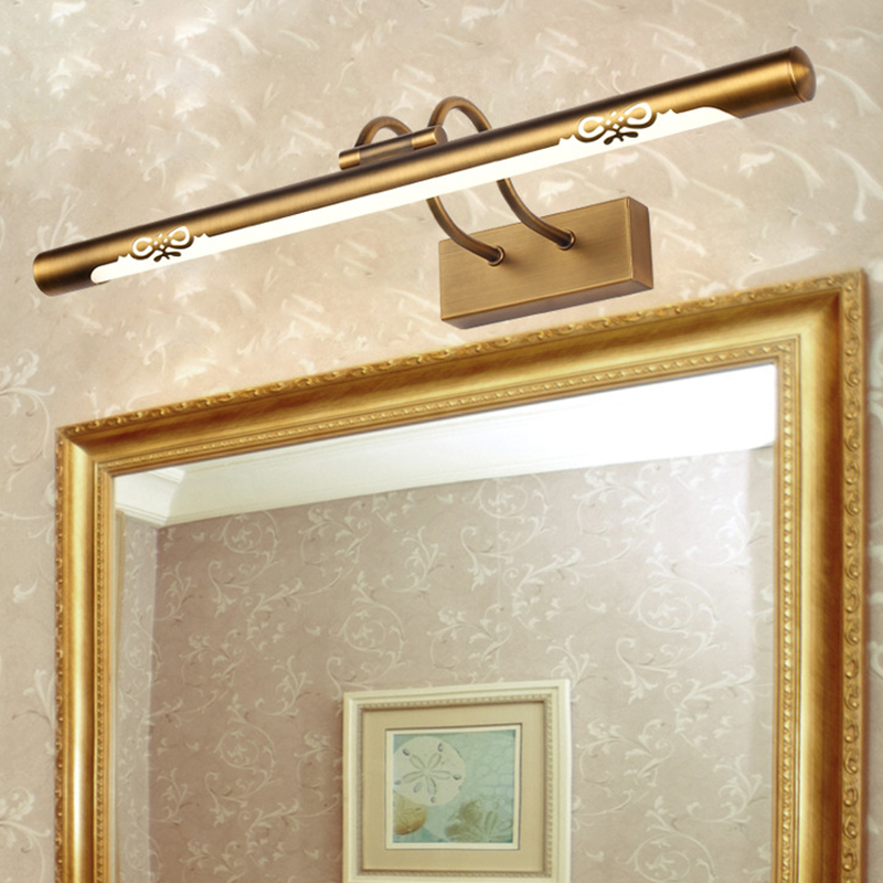 Vintage Brass Long Bar Adjustable LED Above Mirror Vanity ...
