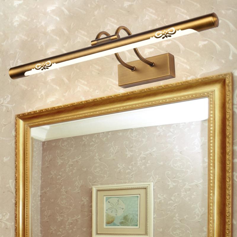 Vintage Brass Long Bar Adjustable Led Above Mirror Vanity