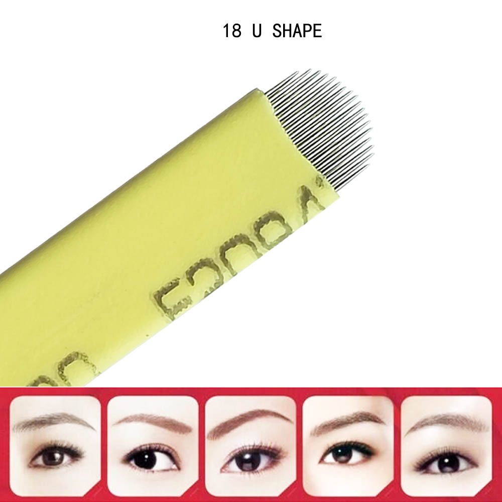 Details about 50x U Shape Microblading Needles Eyebrow Tattoo Permanent  Makeup 18 Blade