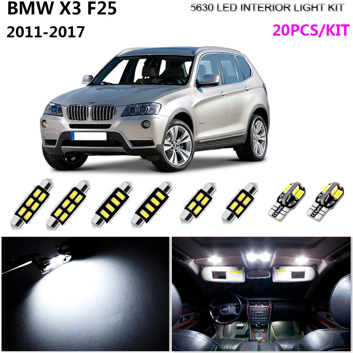 20Pcs LED HID Xenon White 6000K Interior Dome Light Kit