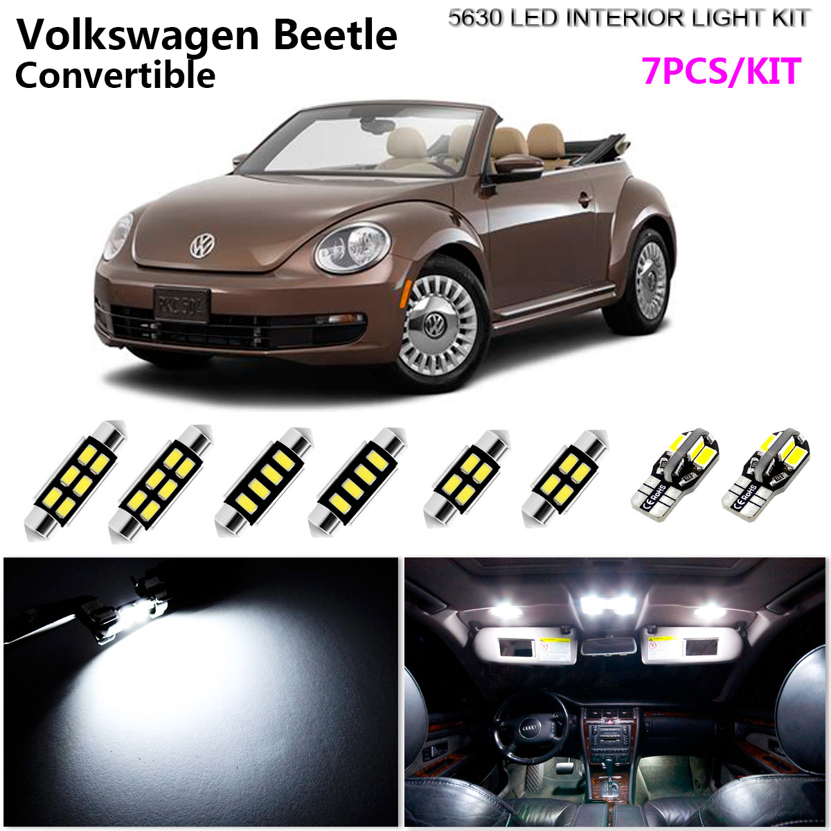 7pcs Xenonwhite 6k Interior Light Kit 5630 Led For Volkswagen Beetle 1960 Convertible