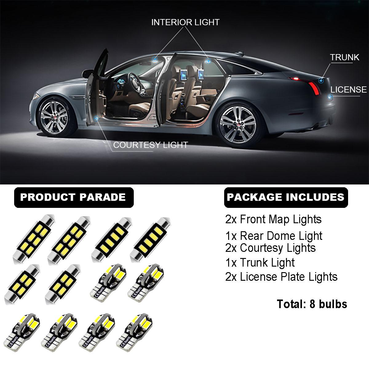 8Bulbs LED Interior Dome Light Kit HID Super White 6000K