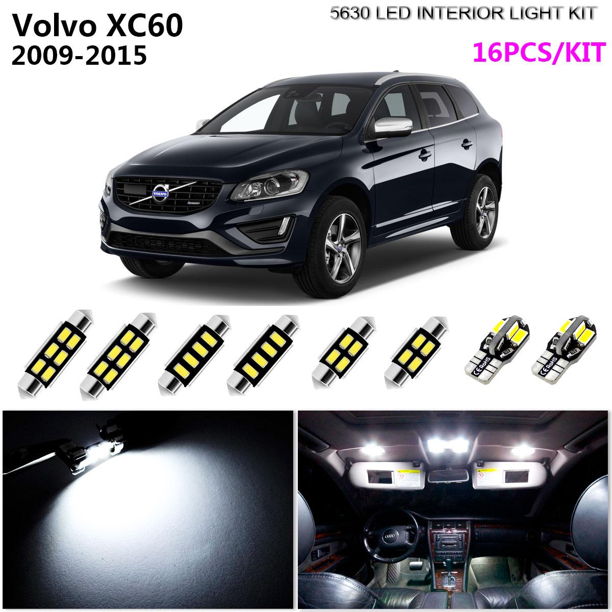 16 Bulbs Super White LED Interior Light Kit Package For Volvo XC60 2009-2015