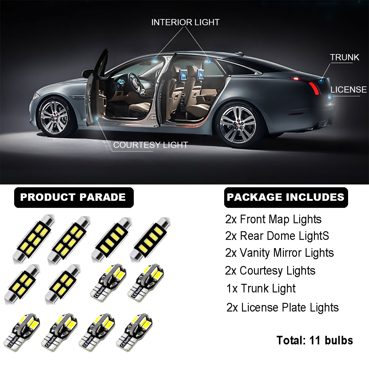 11Bulbs LED Interior Dome Light Kit HID Xenon White 6000K