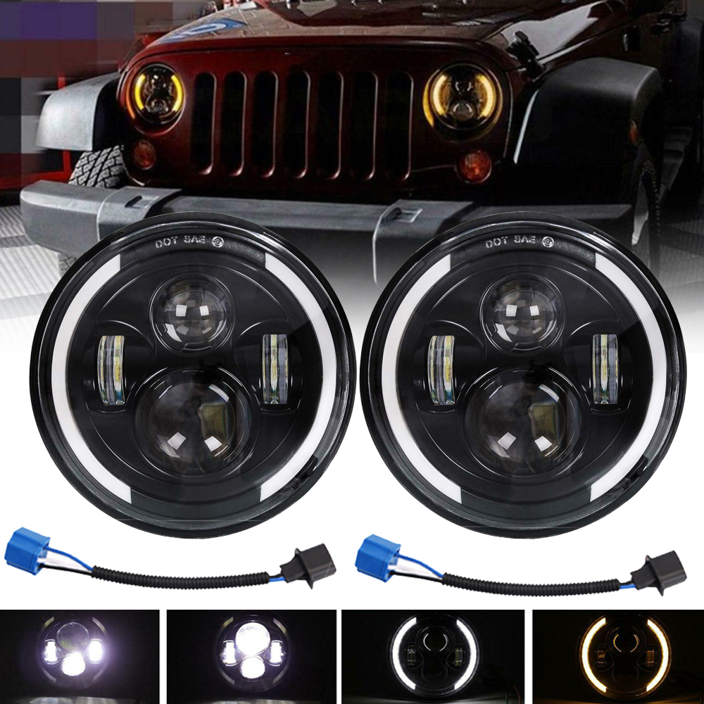 "2X 7/""INCH 200W LED Headlight Hi//Lo Halo Ring DRL For Jeep Wrangler CJ JK TJ LJ"