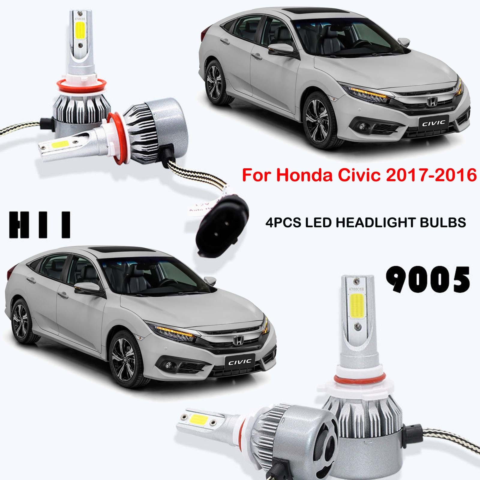 H11 9005 HB3 LED Headlight Kits Power Bulbs For Honda Civic 2017-2016  Replace HI