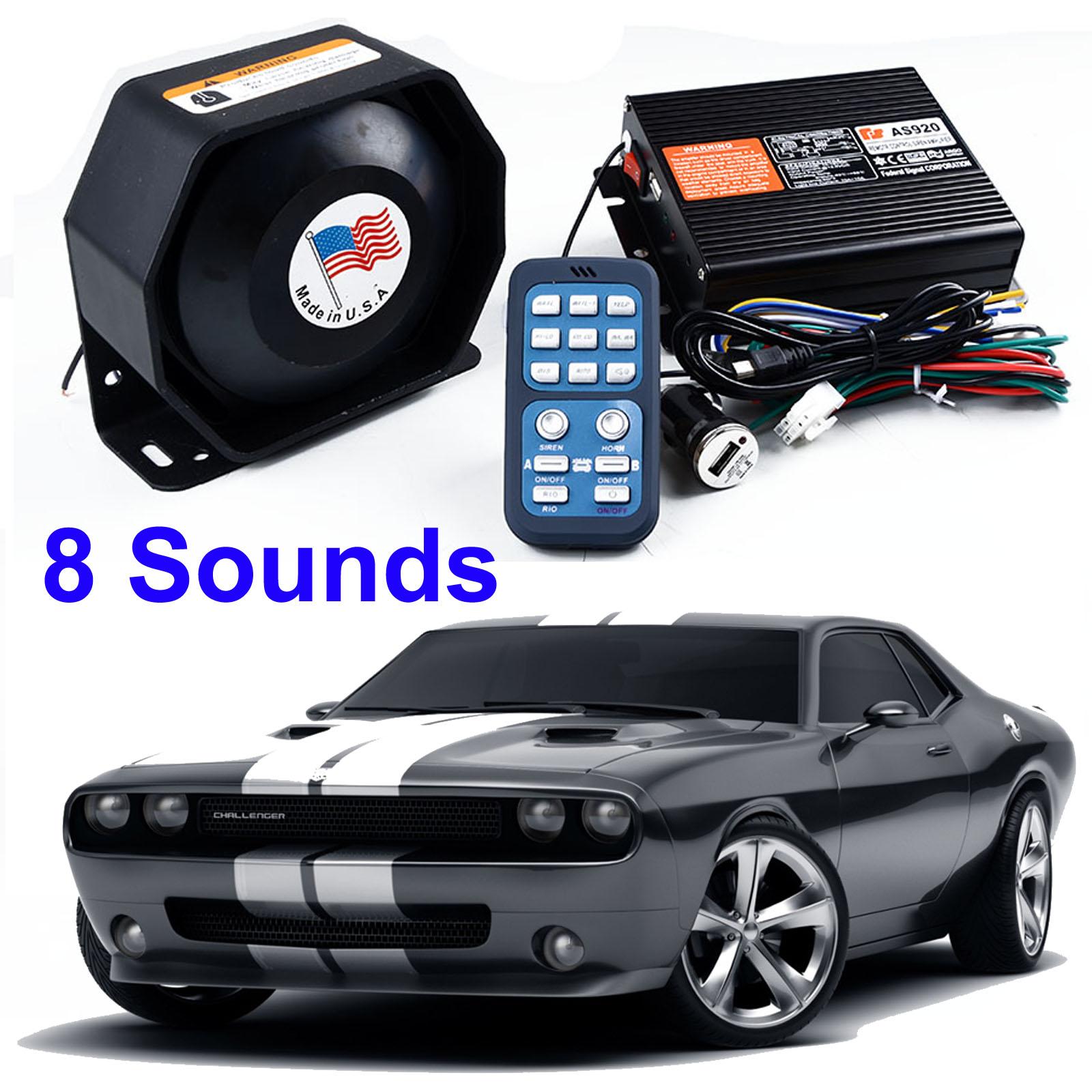 200w 8 Sound Car Warning Alarm Police Fire Siren Horn Ultra Loud Overheating Speaker System