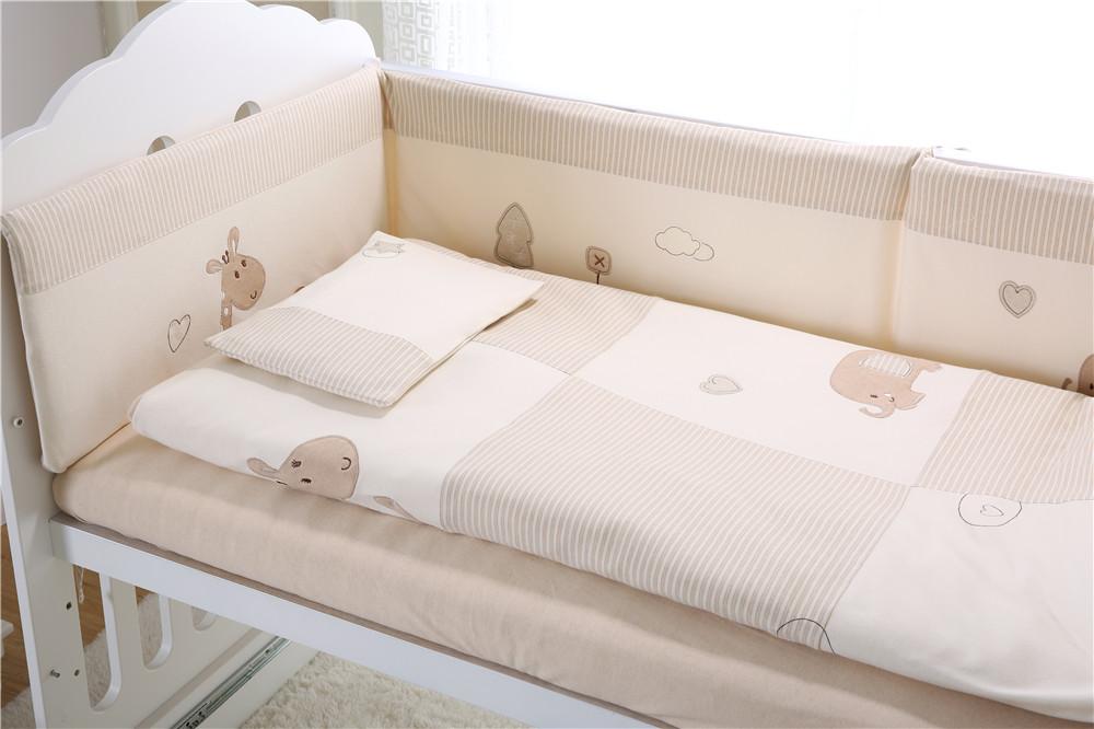 7pcs Baby Crib Bedding set Bumpers Quilt Pillow Cot Sheet Pure Cotton AU002