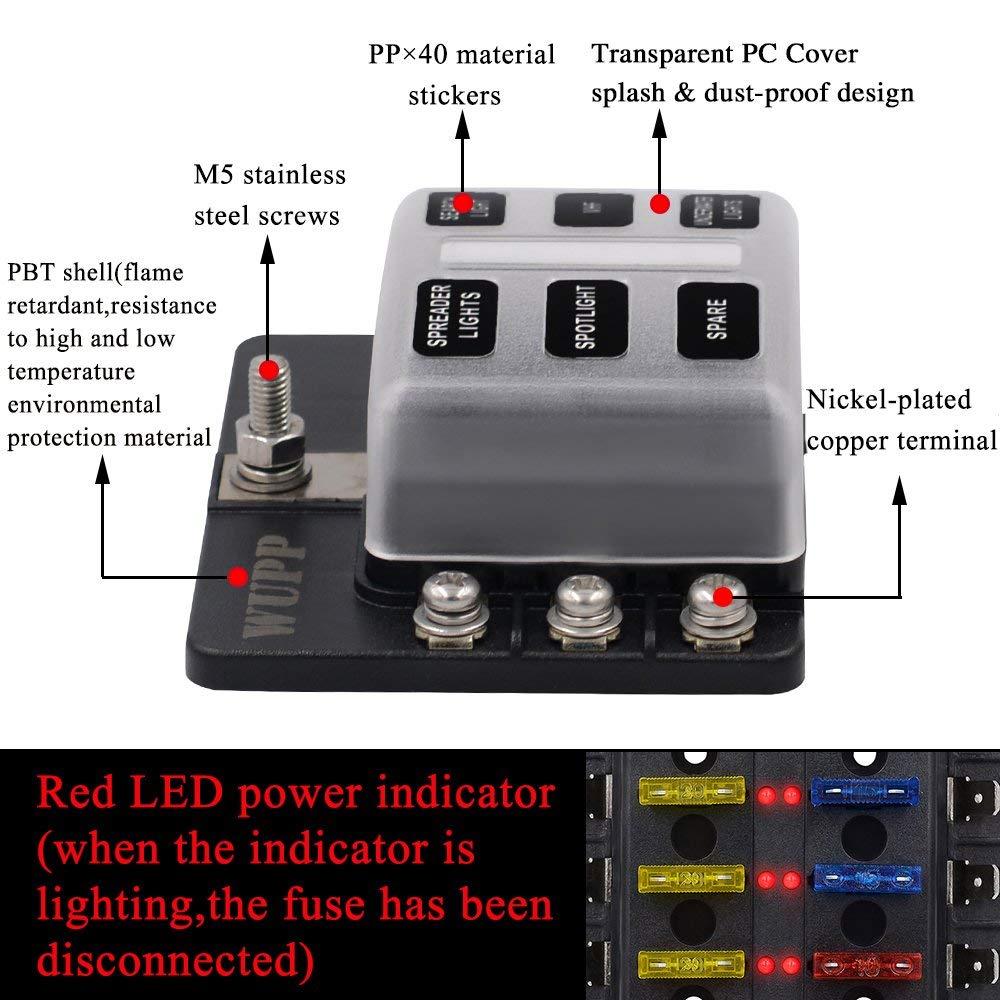 boat fuse panel with led warning indicator damp proof. Black Bedroom Furniture Sets. Home Design Ideas