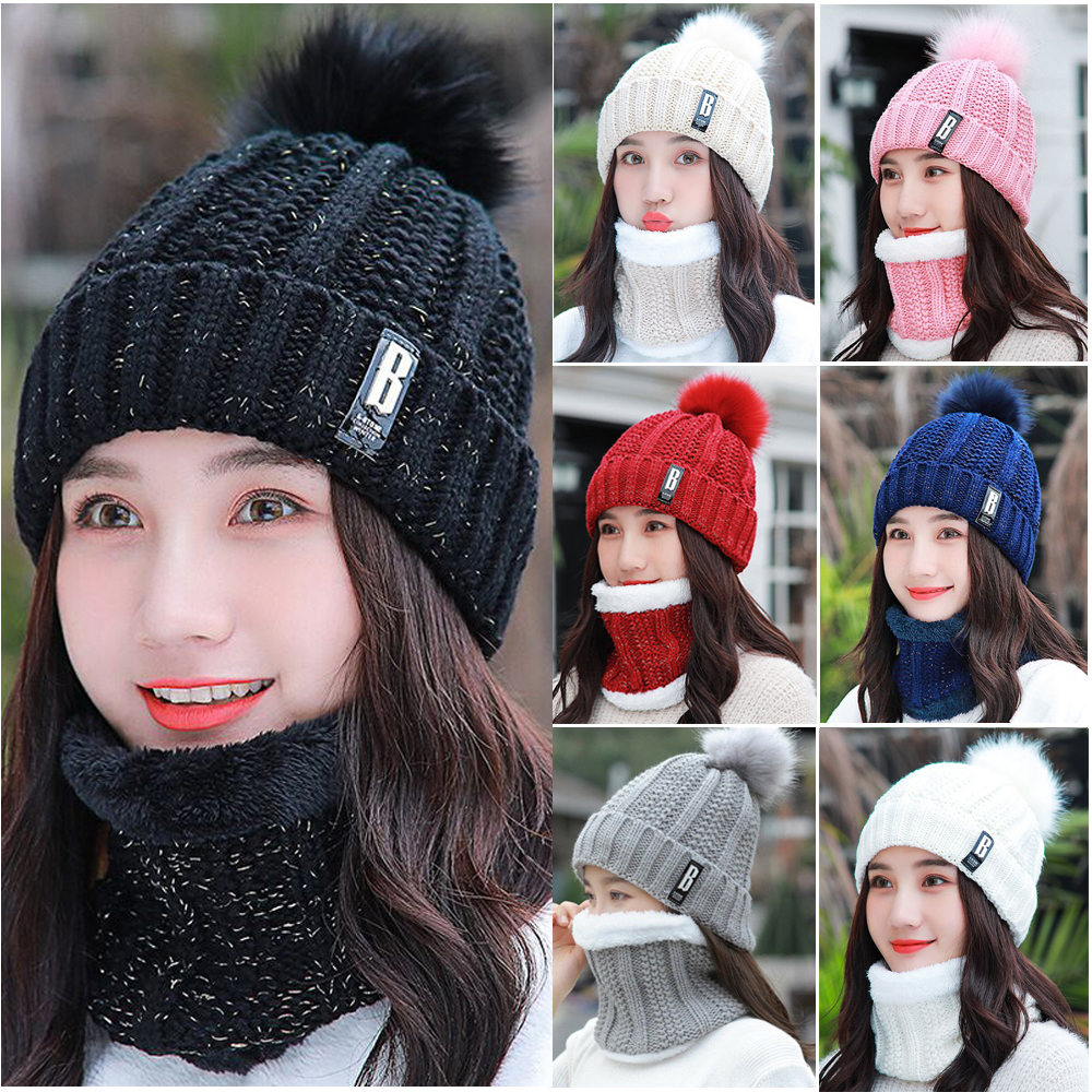 Women Ladies Knitted Woollen Pom Pom Bobble Beanie Hat and Scarf Set Warm Flower