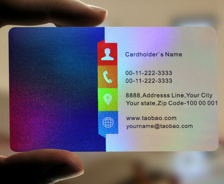 200 PVC Plastic Business Cards Printing - Hologram - Gold Silver ...
