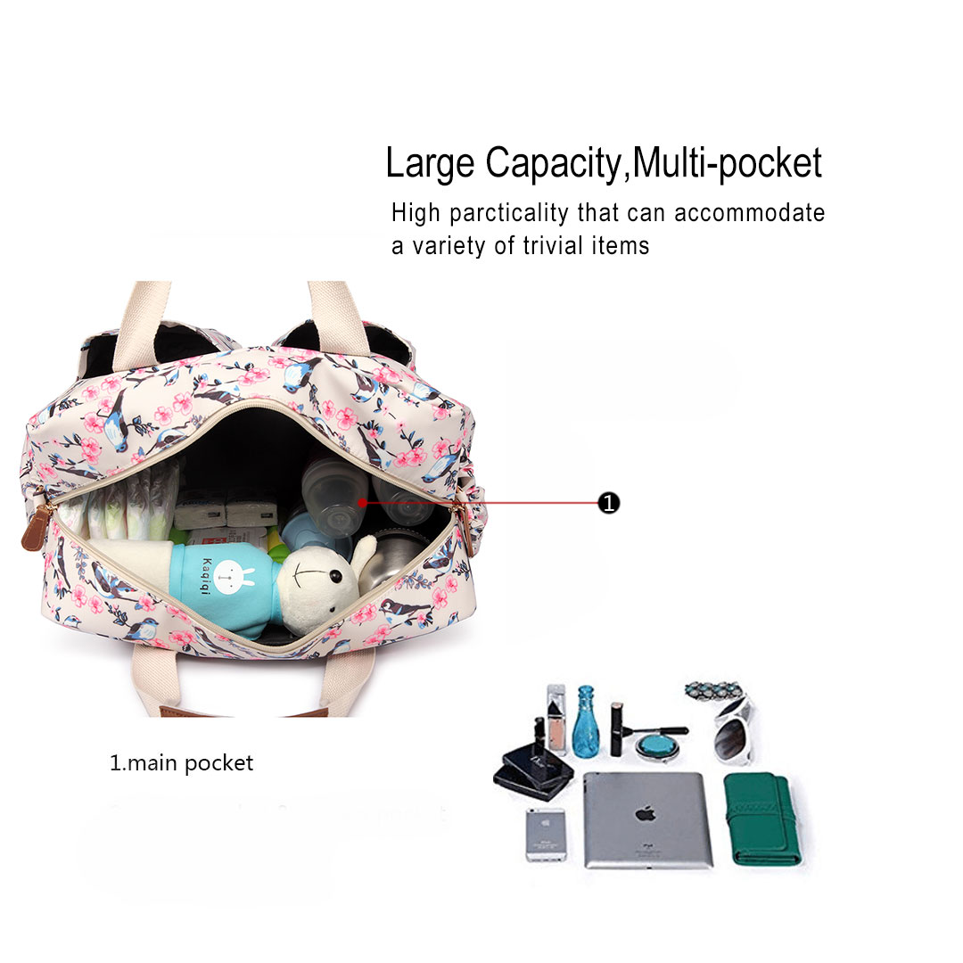 MUMMY MATERNITY BABY NAPPY DIAPER CHANGING BAG BAG WIPE CLEAN BIRDS PRINT Baby