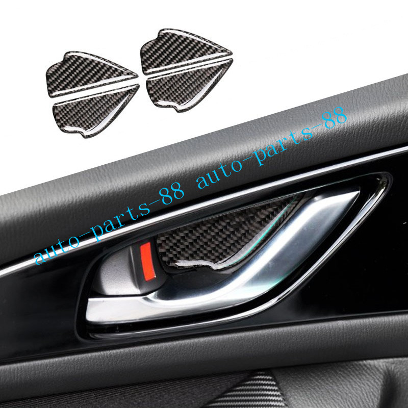 New Carbon Fiber Style Handle Cover Trim for Mazda 3 Axela 2014-2018