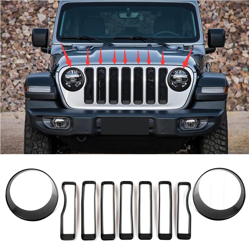 Headlight Trim Front Grill Insert Grille Cover For Jeep Wrangler JL Carbon Fiber