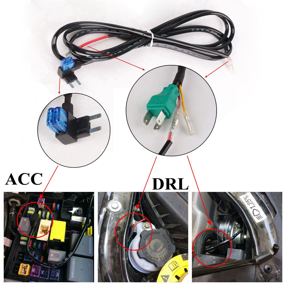 7 Led Headlight Drl Extension Wiring Harness For Jeep Wrangler Jk Tj Upgrade Jku 2007 2017