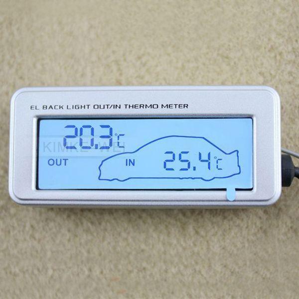 LCD Innen//Außen-Thermometer für Auto 12V//24V Blau
