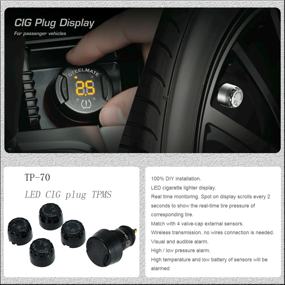 Steelmate TP Wireless DIY TPMS Tire Pressure Monitor System Car - Diy car show display