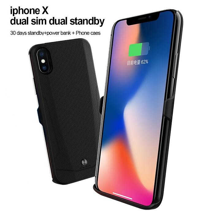 brand new e5cca 533fb Details about Bluetooth 2sim Dual Sim Standby For iPhone X Power Bank Case  Peel adapter