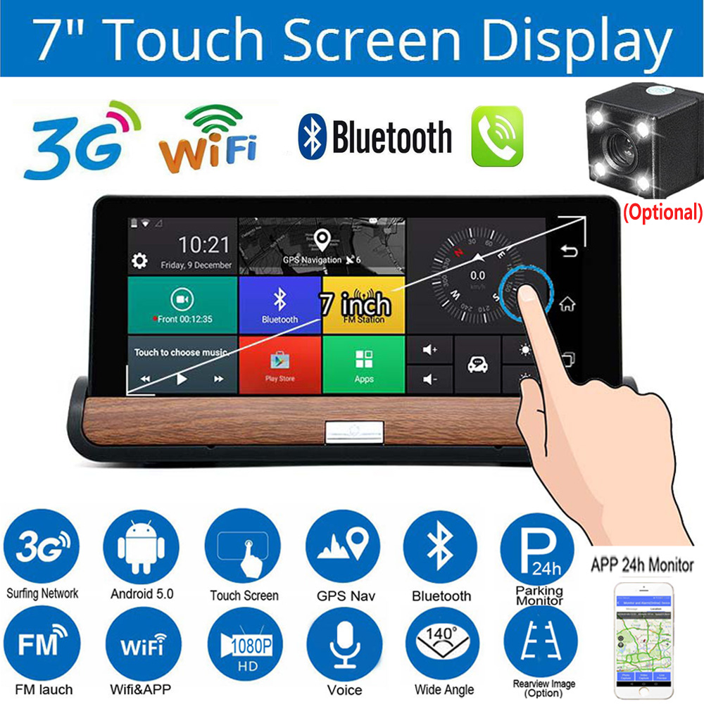 """Details about 7 0"""" 3G Android Wifi Car GPS Navigator Bluetooth Dual Lens  DVR Camera Video APP"""