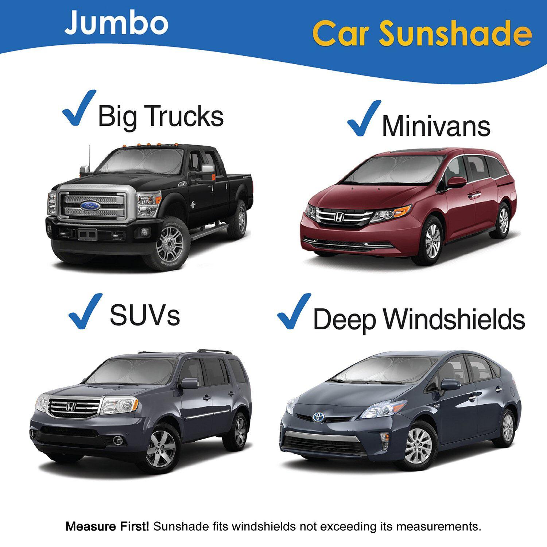 Folding Jumbo Car Auto SUV Sun Shade Visor Front Window Windshield Block Cover