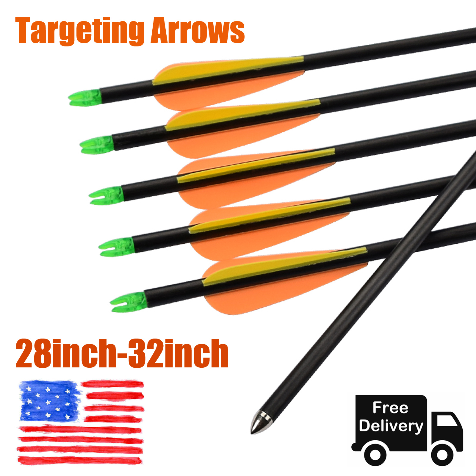 12pcs 32in MIX Carbon Complete arrows with points //nocks //vanes for Compound bow
