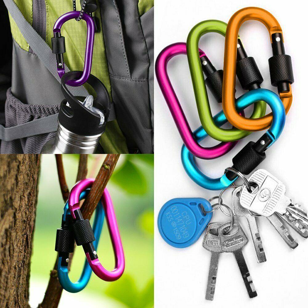 HOT 5Pcs Aluminum Carabiner D-Ring Clip Hook Camping Keychain Screw Locking   ZH