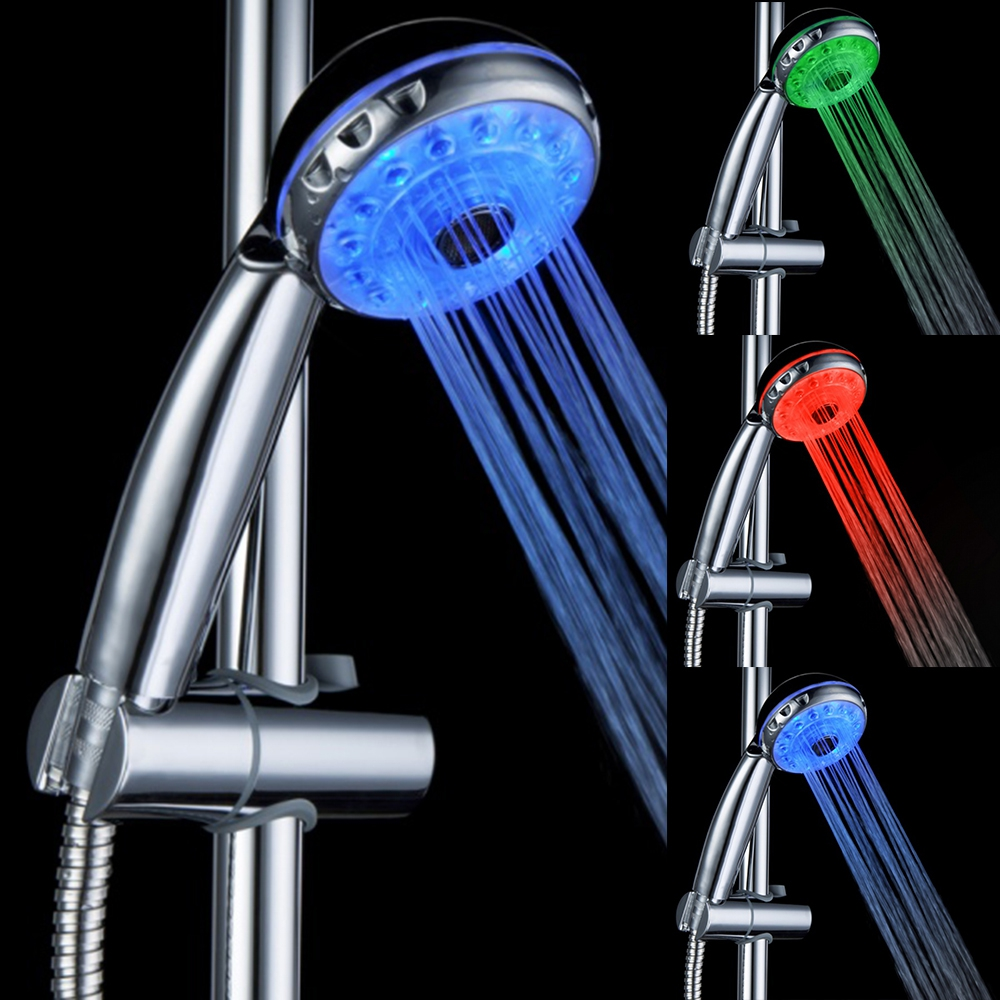 3 Colors Change LED Light Shower Head Temperature Sensor Spray Water ...