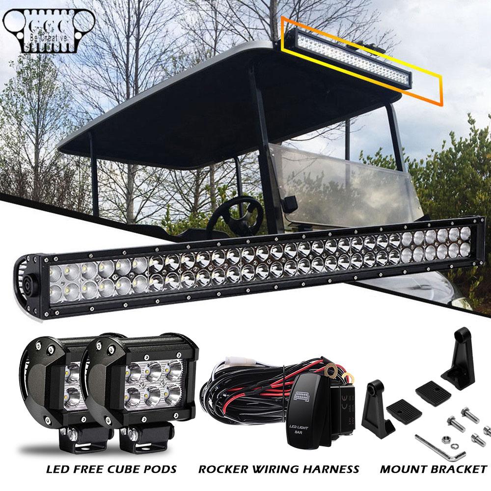 Fit Ezgo Txt Golf Cart 30 32inch 180w Led Light Bar Spot Flood Wiring Harness Combo Fog Lamp