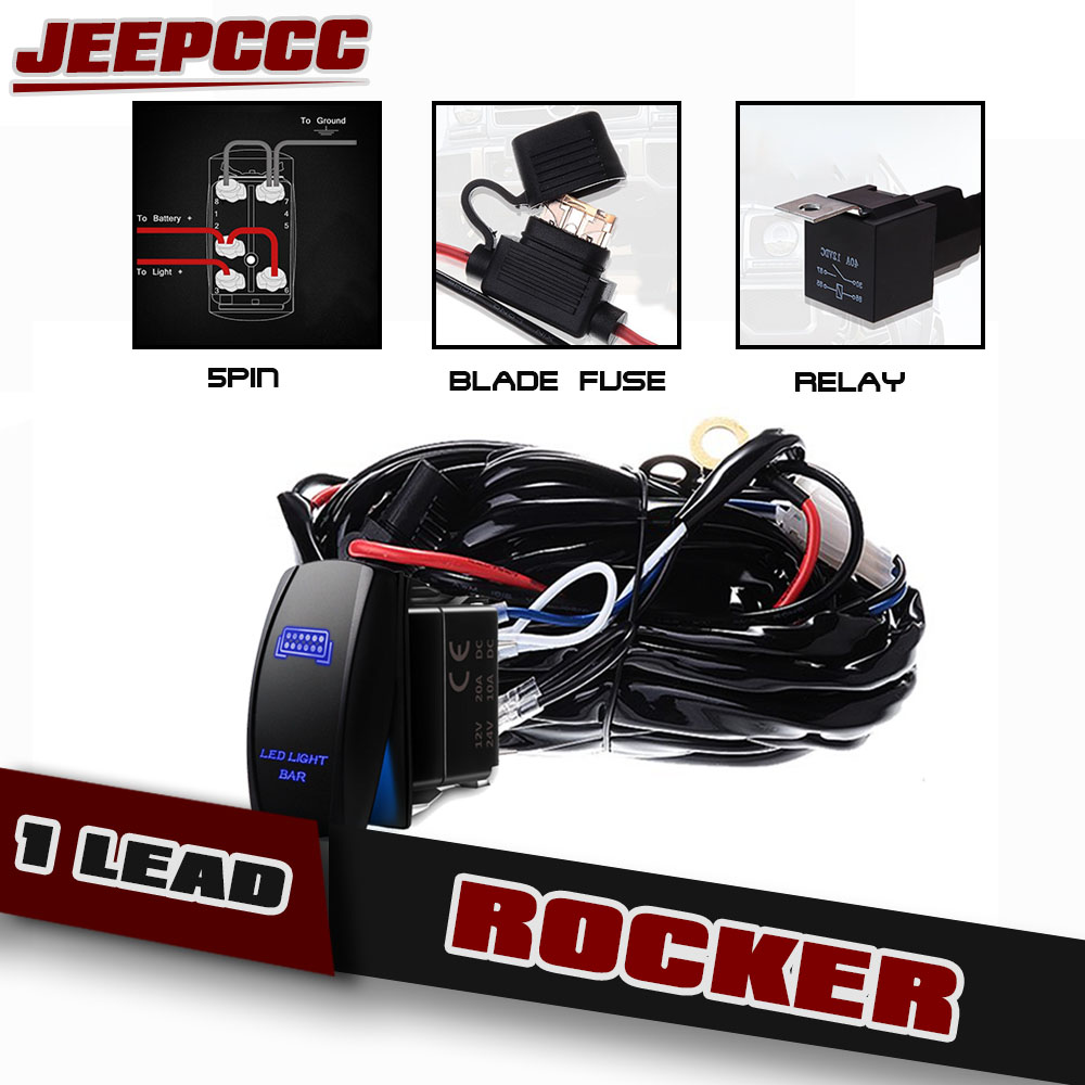1 Lead Wiring Rocker Switch Relay Led Light Bar For Utv Polaris Rzr A 900 1000 Atv