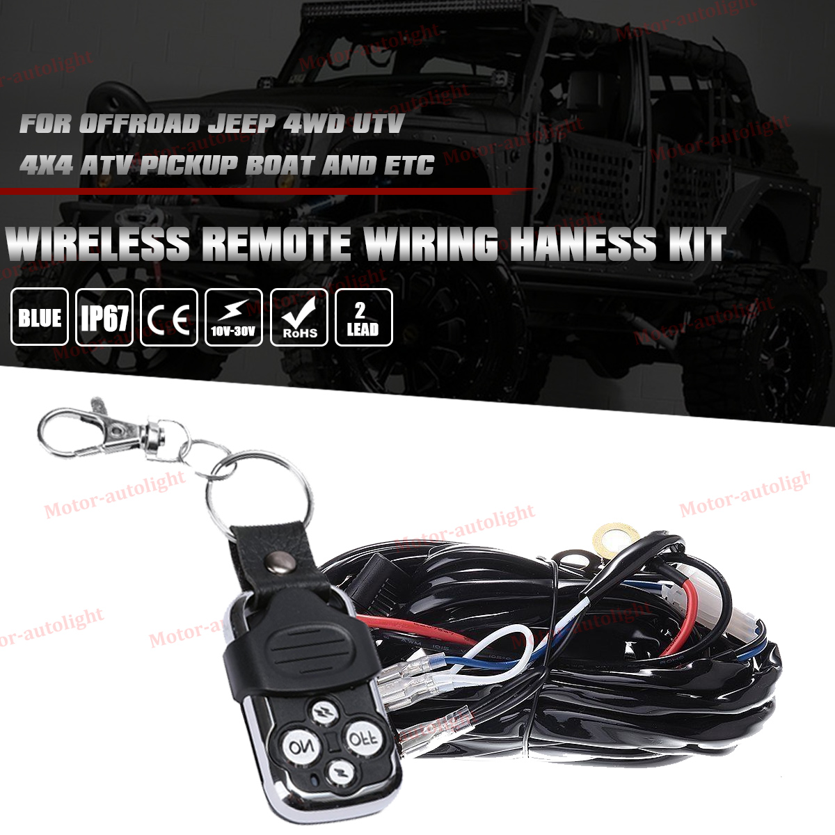 Led Light Bar Wiring Harness 40a 12v Relay Strobe Remote Control Car Blue Red Rocker Switch With Switch2 Lead