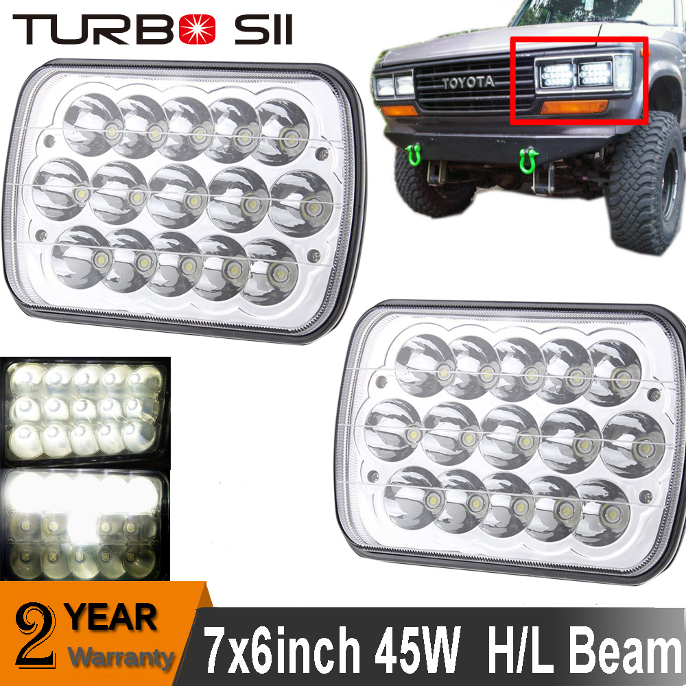 7 x6 led headlights sealed beam square headlamps for toyota pickup truck 2pcs