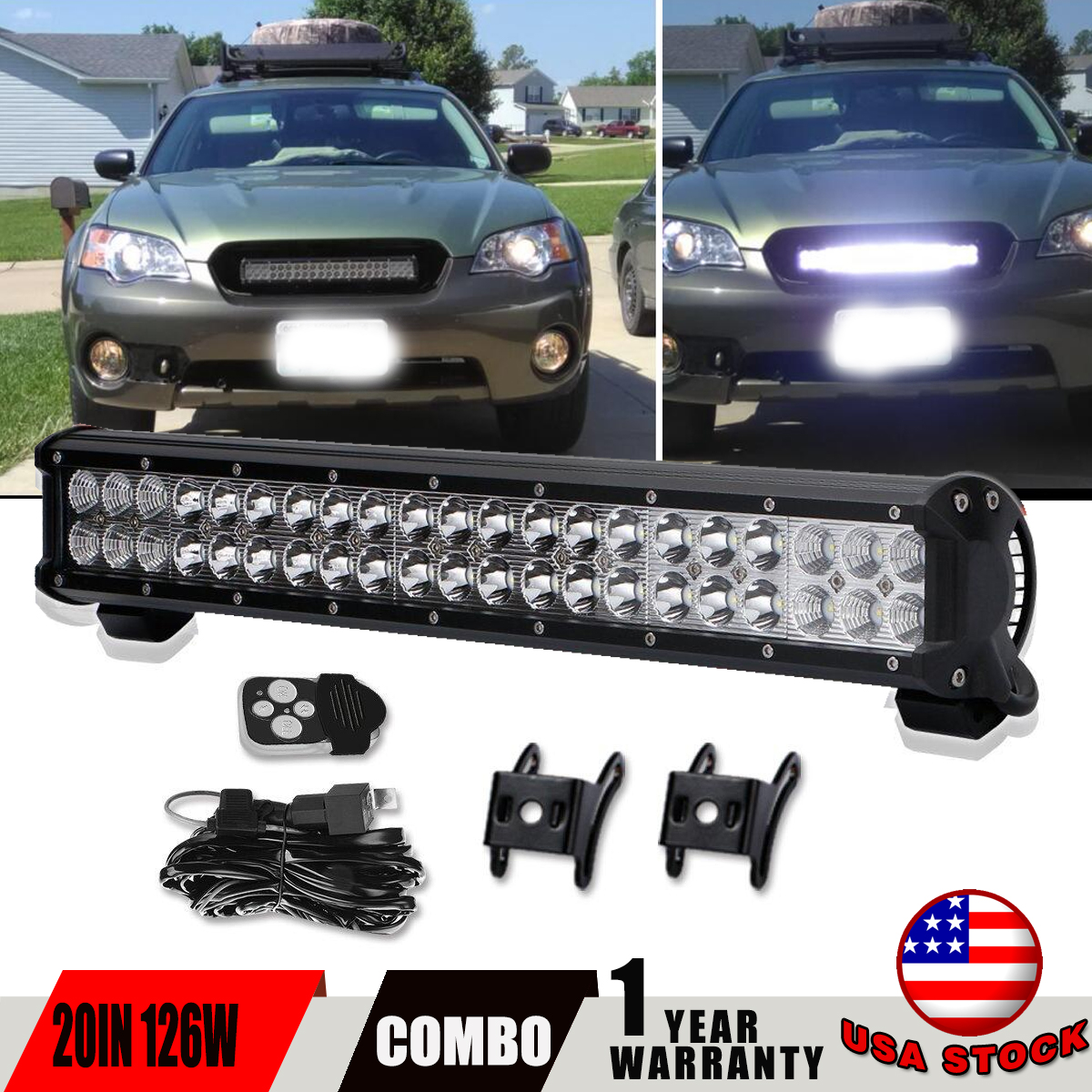20in Led Light Bar On Front Rear Bumper Wiring Kit For Jeep Polaris 1937 Ford Harness Ranger Gmc