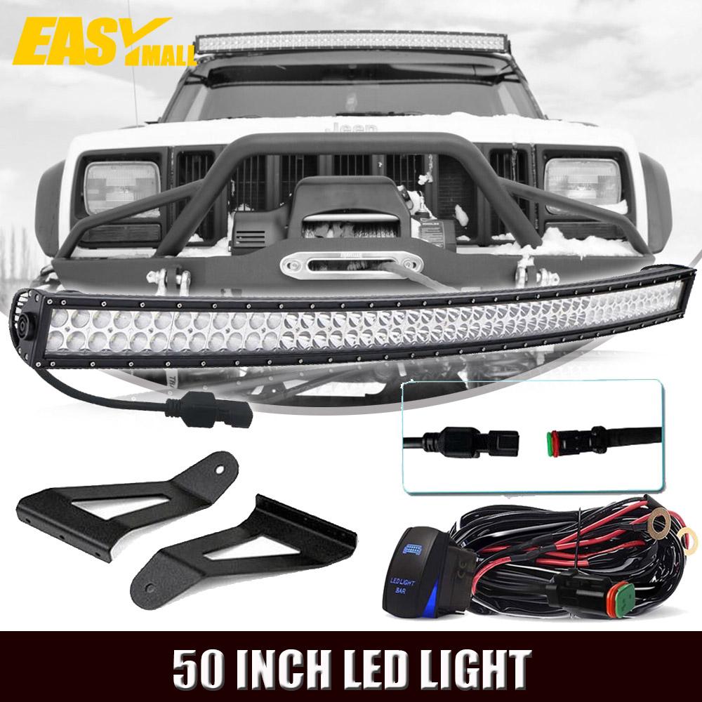 "DOT 1986-1992 Jeep Comanche MJ 50"" Curved LED Light Bar+Roof Windshield  Brackets"