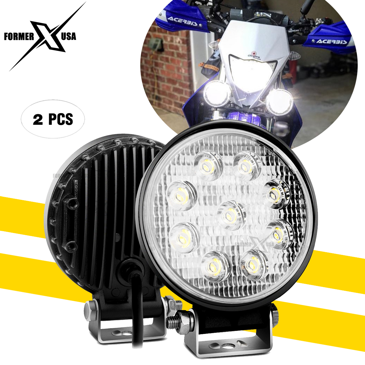 Chrome perfk 1 Pair 4 inch Driving Fog Spot Light Spotlight Headlight Work Lamp Universal for All Motorcycle Motorbike ATV Trucks