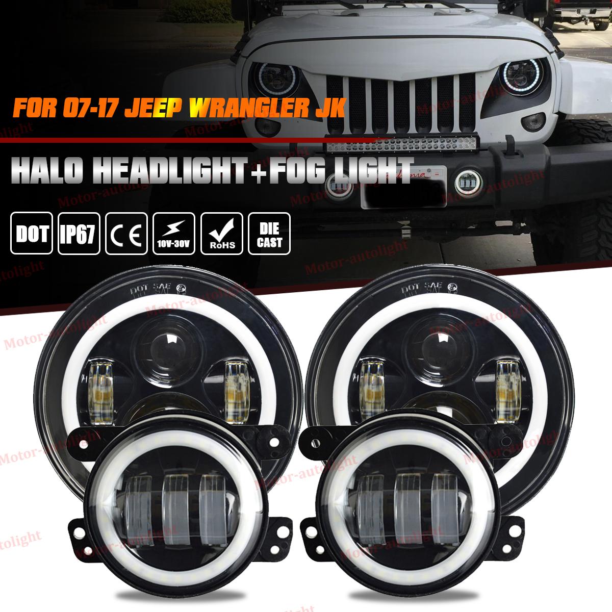 For Jeep Wrangler Jk 7 Led Halo Headlight Fog Lights Combo Kit 07 Light Bulbs 17 Bulb