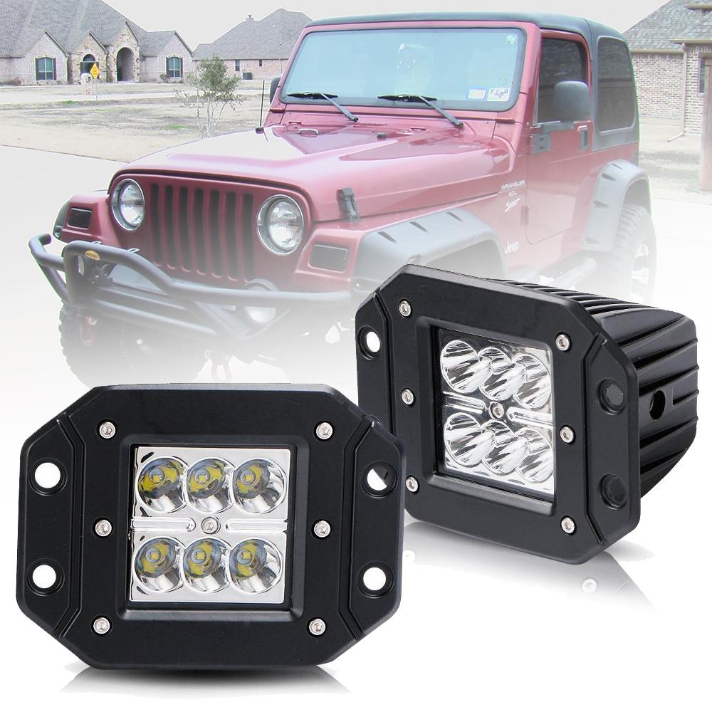 Details About For Jeep Wrangler Tj 2pcs 5 Front Rear Bumper Flush Mount Led Work Light Bar