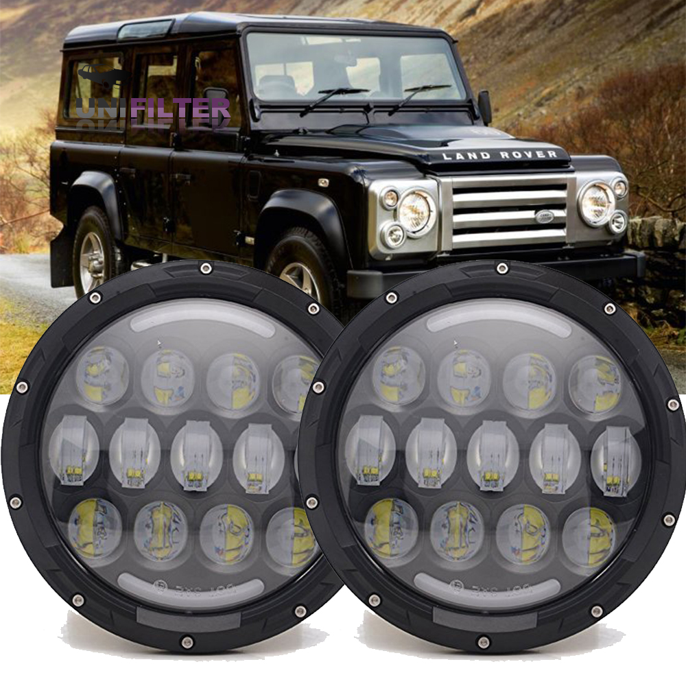 land rover defender 7\'\' Round LED Head Lights great quality Kit ...